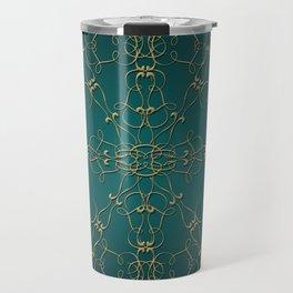 Gold Teal Mandala Travel Mug