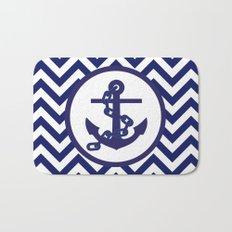 Anchor on Blue and White Chevron Pattern. Bath Mat