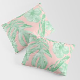 Island Life Seashell Pink + Light Green Pillow Sham