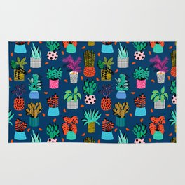 Check It - house plants indoor monstera neon bright modern pattern retro throwback memphis style Rug