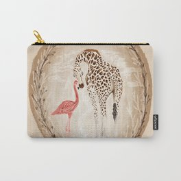 Precious Love Giraffe and Flamingo Watercolor Painting , Unlikely Lovers Hope Carry-All Pouch