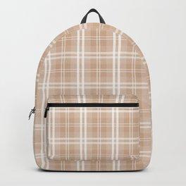 Spring 2017 Designer Color Light Hazelnut Brown Tartan Plaid Check Backpack