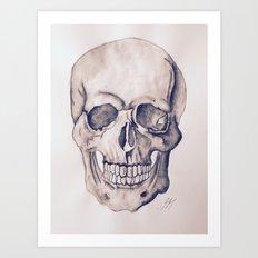 Black & White Skull Water Colour Art Print