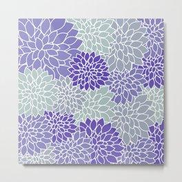 Periwinkle Grayish Blue Dahlias Metal Print