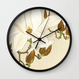 Bird Myna sitting on Magnolia tree - Vintage Japanese Woodblock Print Wall Clock