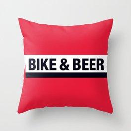 Bike & Beer by Dennis Weber of ShreddyStudio Throw Pillow