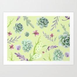 Cactus Watercolor Pattern 3 Art Print