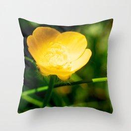 Yellow buttercup flower in summer Throw Pillow