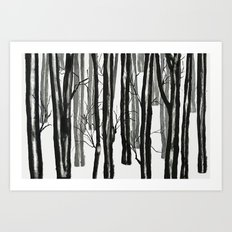 wood and snow Art Print