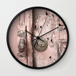 Pink Rusty Door Wall Clock