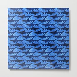Sharks in the Blue, Blue Sea Metal Print