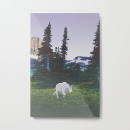 Twilight Mountain Goat Metal Print