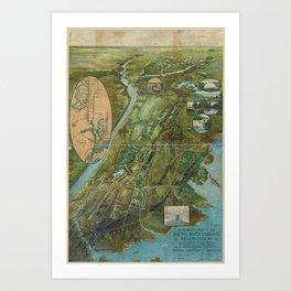 Vintage Map of the Bronx NY (1915) Art Print