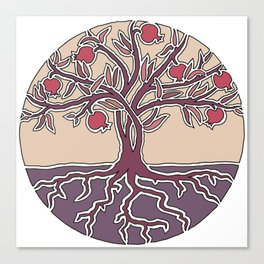 Pomegranate Tree of Life in Mauve and Warm Tones Canvas Print