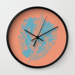 Autumn leaf blue Wall Clock