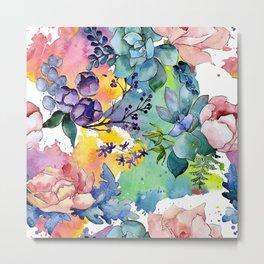 Watercolor Floral Flower Colorful Print Pattern Metal Print