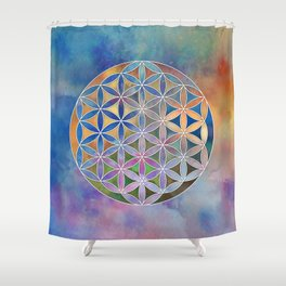 The Flower of Life in the Sky Shower Curtain