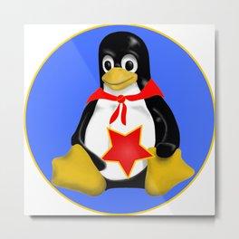 Linux Tux Communist Metal Print