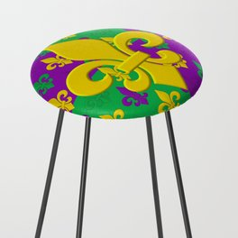 Mardi Gras Fleur-de-Lis Pattern Counter Stool