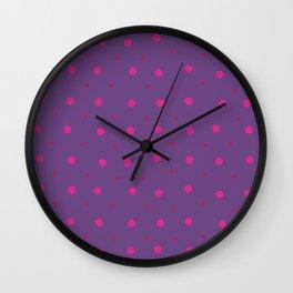 Lilac Purple Pink Dots Pattern Wall Clock