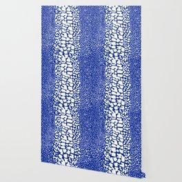 ANIMAL PRINT SNAKE SKIN BLUE AND WHITE PATTERN Wallpaper