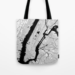 New York City Black and White Map Tote Bag