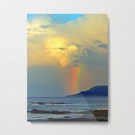 Rainbow on the Coastal Town Metal Print
