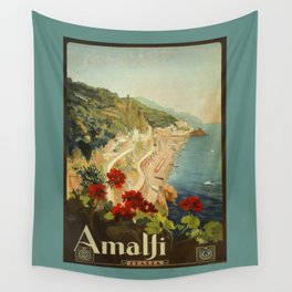 Vintage Travel Ad Amalfi Italy Wall Tapestry