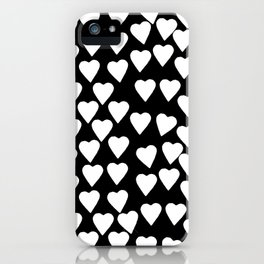 Hearts White on Black iPhone Case