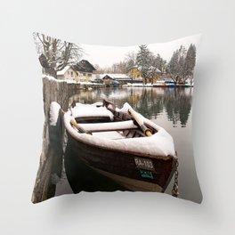 Boats At The Bled Lake Throw Pillow