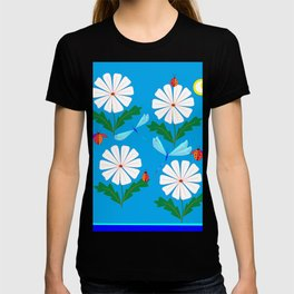 White Spring Daisies, Dragonflies, Lady Bugs and the Sun T-shirt