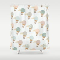 baloon Shower Curtains featuring baloon collage pattern  by flying bathtub