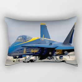 Navy's Spectacular Blue Angels' Airplane At Rest on Tarmac Rectangular Pillow