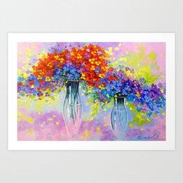 Music of multi-colored flowers Art Print