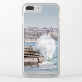 Waves crashing on the Promenade in Cascais Clear iPhone Case