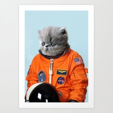 Space Kitten Blue Art Print