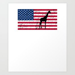 Giraffe Patriotic American Flag Art Print