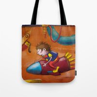 rocket Tote Bags featuring Rocket by András Balogh