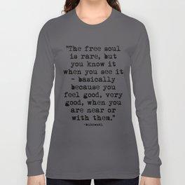 Charles Bukowski Typewriter Quote Free Soul Long Sleeve T-shirt
