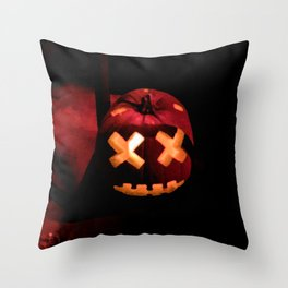 Digital Painting of one Beautifully Craved, Scary Halloween Pumpkin Sitting on the Sones Outside Throw Pillow