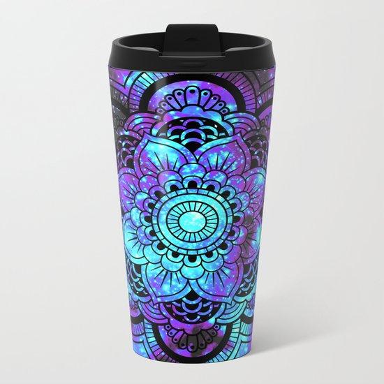 Mandala : Bright Violet & Teal Galaxy 2 Metal Travel Mug