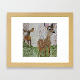 The Disappearing Landscape: fawns Framed Art Print