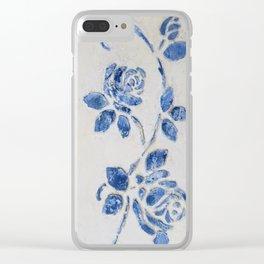 Original Art - Wedgewood Blue Roses - Raised detail & texture Clear iPhone Case