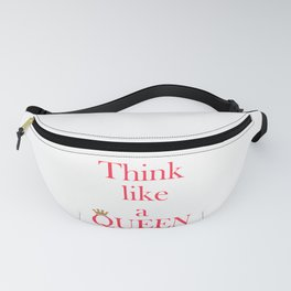 Think like a queen inspiring pink text print and gold crown, gift for her Fanny Pack