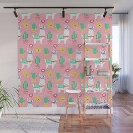 Cute Alpaca & Cactus Pattern Wall Mural