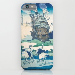 Howl's castle and japanese woodblock mashup iPhone Case