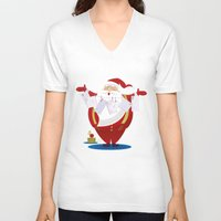 santa V-neck T-shirts featuring Santa by rusanovska