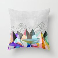positive Throw Pillows featuring Colorflash 3 by Mareike Böhmer