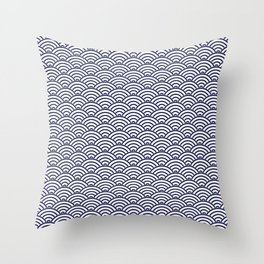 Japanese Koinobori fish scale Delft Blue Throw Pillow