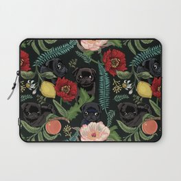 Botanical and Black Pugs Laptop Sleeve